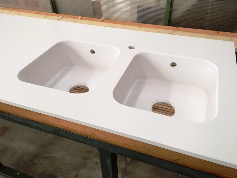 top cucina vasca doppia in agglomerato di quarzo silestone