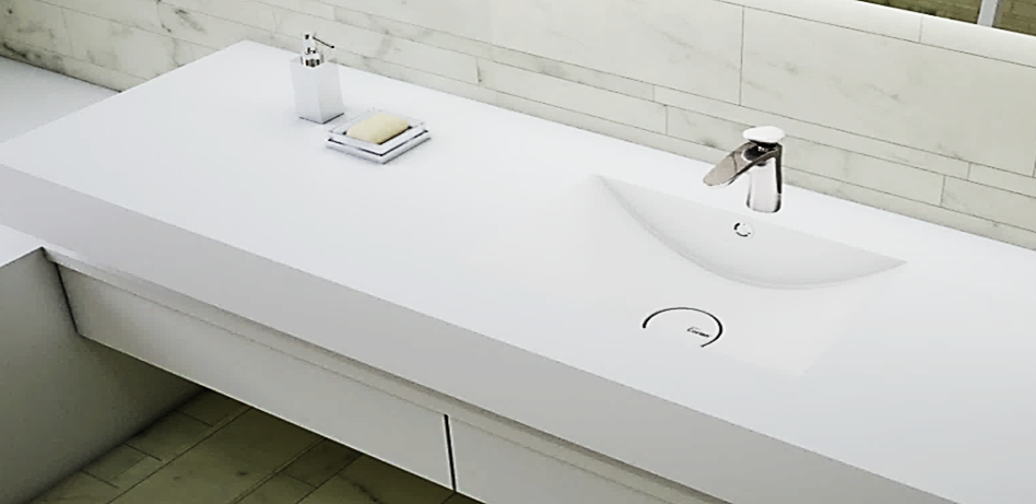 top bagno in corian con vasca integrata