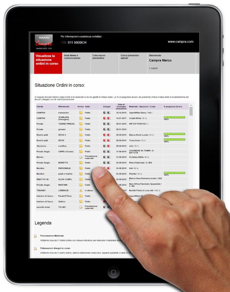 campra_online app per gestione ordini top cucina